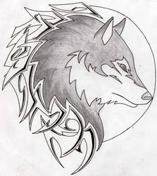 Wolf In A Moon Tribal Tattoo by Aglinskas