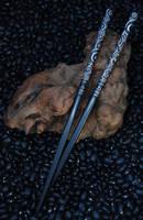 Carved Ebony Spiral Hairsticks by Wyrdhaven
