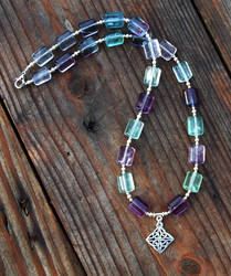 Flourite and Knotwork Necklace by Wyrdhaven