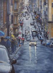 Via Sistina - Roma  ... OIL PAINTING by AstridBruning