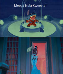Stitch appalls Tiana by WanderSong