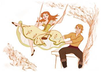 Disney's Frozen - Anna and Kristoff - The Swing by alexanderbim