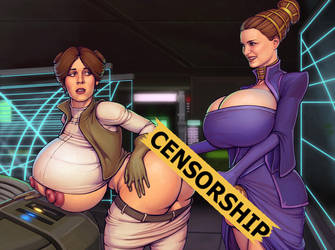 Padme and Leia [censored] by boobsgames