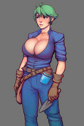 Warlock and boobs: Krowly with cleavage by boobsgames