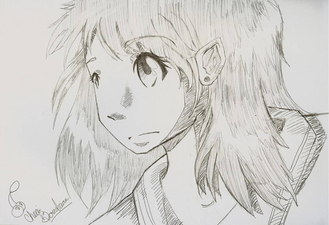 Anime girl pencil drawing by sinya chan