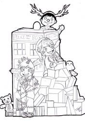 Eccly Tenny and Smithy Xmas lineart by FuriarossaAndMimma