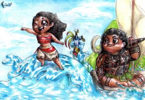 Chibi Moana and Maui by FuriarossaAndMimma