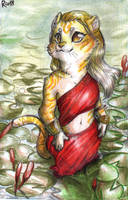 Chibi Commission - Golden among the water lilies by FuriarossaAndMimma