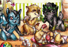 Commission - A bunch of babies by FuriarossaAndMimma