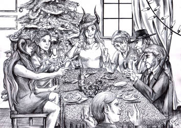Christmas dinner 2018 - BW by FuriarossaAndMimma