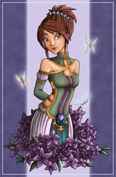 Aeoleah - Flower Girl colored by angelnablackrobe