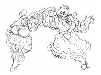 Buff Isabelle and Peachette by MightyKnightBR