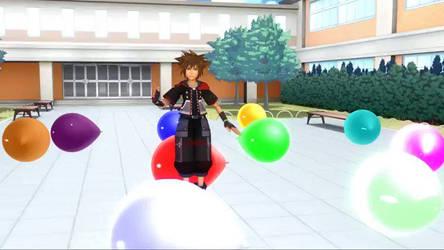 Sora sit pops balloons by demonstardust