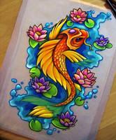 Koi + Lotus - Commission by dannii-jo