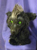 Black Wolf Fursuit Head Front View by foxfairy-art