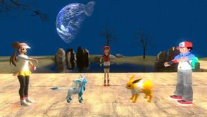 a pokemon battle. by SkullsKnight