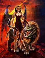 Sekhmet Darkwing Lady of Flame by xenoform