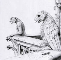 Gargoyles of Notre Dame by dashinvaine