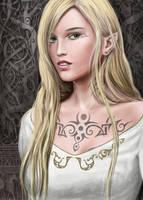 Tattooed Elf Girl coloured by dashinvaine