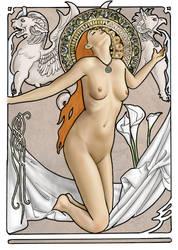 Art Nouveau-ish Nude coloured by dashinvaine