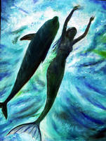 dolphin and mermaid by dashinvaine