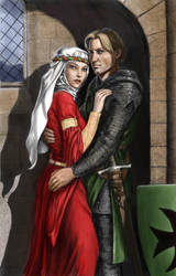 Medieval lovers colouring (line art by AJH) by dashinvaine