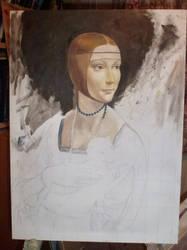 Lady with an Ermine by Leonardo da Vinci copy wip1 by dashinvaine