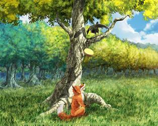 le renard et Corbeau by devenphobe