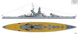 Hiraga Yuzuru 1929 Battleship Design by Tzoli