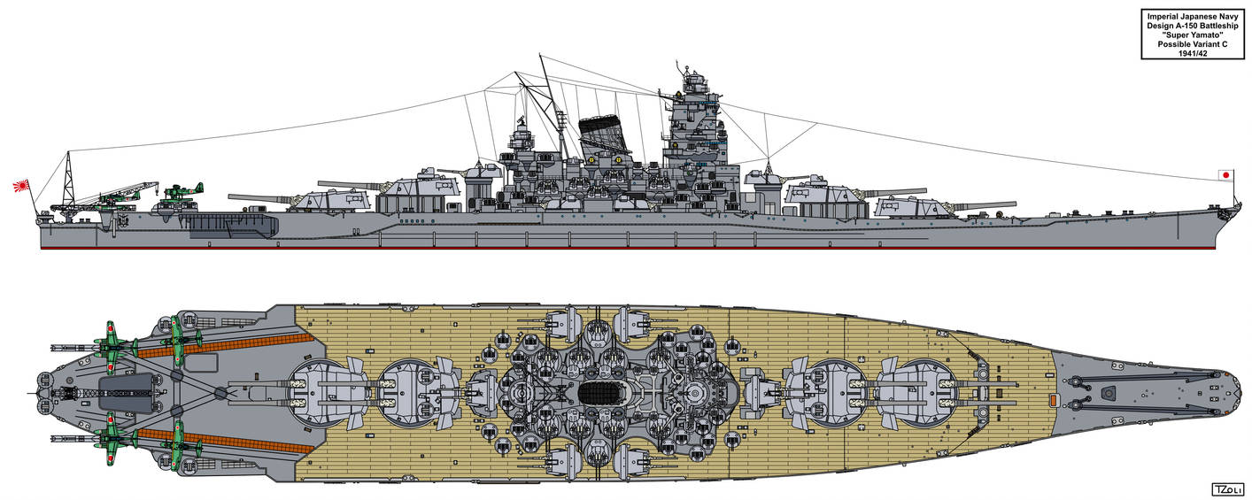 A-150 Super Yamato class possible variant C by Tzoli