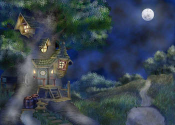 Tree House -Night by BhattiGal