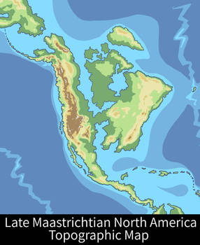 Late Maastrichtian North America Topographic Map By