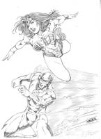 Flash and Wonder Woman by JeanSinclairArts