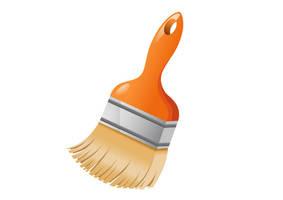 Free-vector-orange-paint-brush-illustration by superawesomevectors