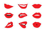 Woman Lips Set Free Vector by superawesomevectors