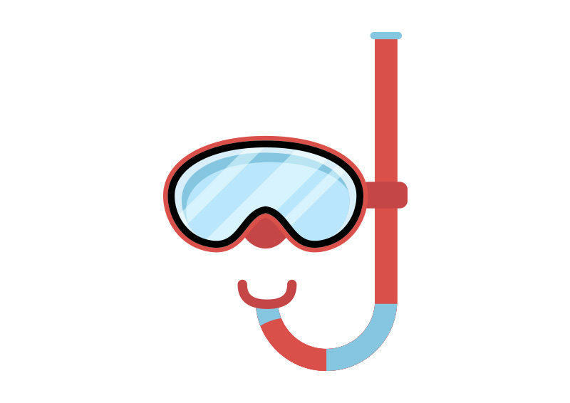 Diving Mask With Snorkel Flat Vector by superawesomevectors