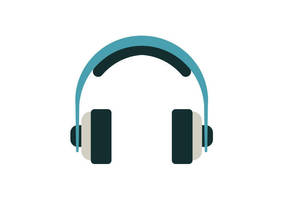 Headphones Flat Vector Icon by superawesomevectors
