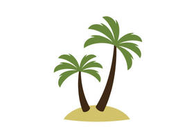 Palm Trees on Island Flat Style Vector by superawesomevectors