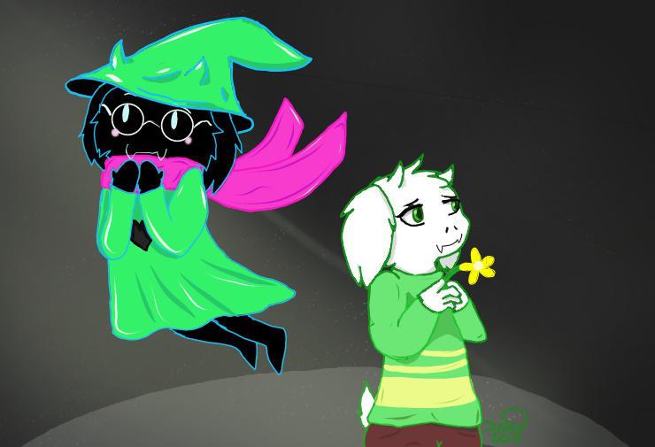 Ralsei and Asriel by TheFoxNamedSnow