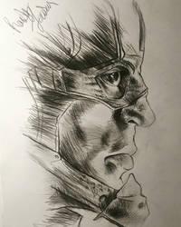 Captain America cross hatching practice 20min sket by randyjackson20
