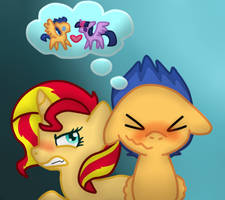 Sunset Shimmer and Flash Sentry by StormSwirl1