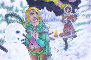 Secret Santa- Playing in the Snow by GreenAngel5