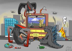 Godzilla vs Muto by mickking