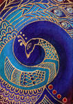 Blue Peacock painting by ChaoticatCreations