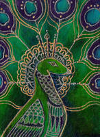 Green Peacock painting by ChaoticatCreations
