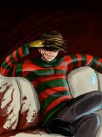 Freddy Krueger watches TV by Super-Furet