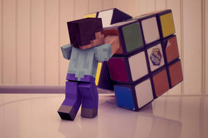 Steve trying a Rubik's Cube by Weed-Lion