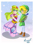 Zelda and Link- The Wind Waker by Laurence-L