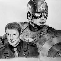 Steve Rogers / Captain America pencil drawing by ThresaDory
