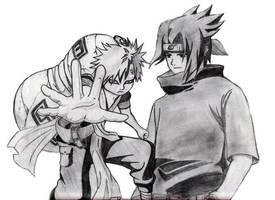 Sasuke and Gaara by grandpa3192